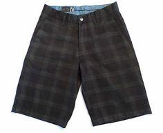 "Mens Size 28 Volcom Corpo Class ""Frickin Plaid Chino Short"" Shorts, Black & Gray. $19.99"
