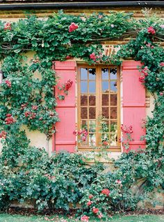 Quaint Cottage Exterior with Candy Red Shutters and Trailing Flowers Ventana Windows, Gazebos, Plum Pretty Sugar, Through The Window, Windows And Doors, Curb Appeal, Wonders Of The World, Beautiful Places, Secret Gardens