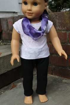 American Girl Doll outfit  Purple Black and White with scarf by HopscotchSundae, $21.00