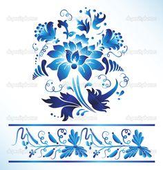 gzhel | Vector gzhel flower russian traditional
