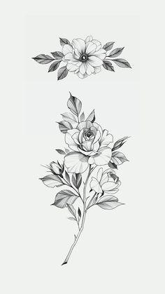 of flowers Stories Mini Tattoos, Small Tattoos, Cool Tattoos, Flower Tattoo Designs, Flower Tattoos, Tattoo Sketches, Tattoo Drawings, Doodle Tattoo, Floral Drawing