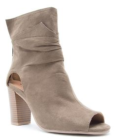 Khaki Lucy Peep-Toe Boot by Qupid #zulily #zulilyfinds