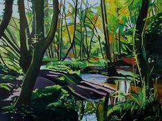 Gower Woodland painting by Swansea artist Emma Cownie