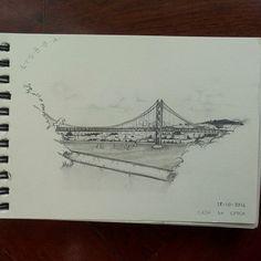 A ponte é uma passagem, pra outra margem.  #fixaroinstante #graphite #art #sketch #lisboa #ponte #ponte25deabril #almada #casadacerca #desenho #draw #drawing