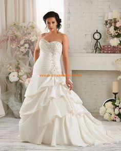 Bonny Asymmetrische Lange Brautkleider aus Taft mit Schleppe