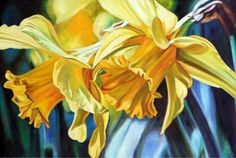 Original oil on canvas floral Daffodil painting 1 by Sean Curley seancurleyfineart.co.uk