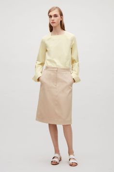 COS image 1 of Top with square neck in Yellow