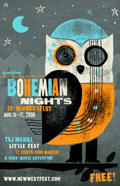 Bohemian Nights event poster- like the owl and the ink work