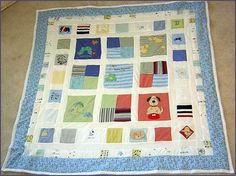 baby onesie quilt idea...I am gathering onesies and rompers I saved from both boys to make them each a quilt.  This seemed like a great way to hold onto a piece of their past with something useful. My MIL made a t-shirt quilt out of my husbands youth t shirts and it is adorable.