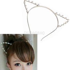 #gib Sexy Cat Ear Girl Head Band Beaded Hair Band Metal Fashion Silver