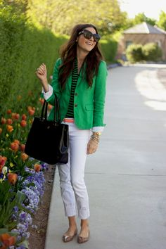 White pant | thumbs white cropped pants green blazer pink peonies Summer Whites And ...