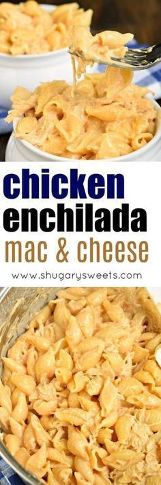 This easy, stove top Chicken Enchilada Mac and Cheese is ready in 30 minutes and packed with flavor! The perfect weeknight dinner recipe!
