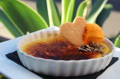 Crème Brûlée with Passionfruit Sorbet and Shortbread Cookie