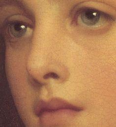 Particolari di opere 3. Sir Frederic Leighton: Biondina. Olio su tela, del 1879. Locazione sconosciuta. Una giovane donna, dagli splendidi occhi verdi.