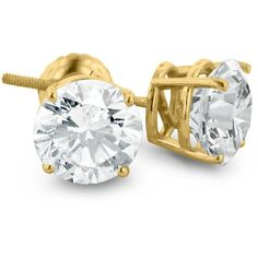 FireFacet 3 CT TW Diamond 14K Yellow Gold Classic 4-Prong Solitaire Stud…