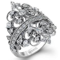 18k White Gold Simon G Duchess Collection Crown Design Diamond Ring