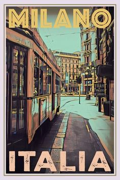 Milano • Italia ~ My Retroposter Poster City, Poster Wall, Poster Prints, Life Poster, Illustrations Vintage, Budget Planer, Online Posters, Travel Wall, Vintage Travel Posters