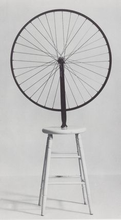 Bicycle wheel, Marcel Duchamp. The original from 1913 was lost, and Duchamp recreated the sculpture in 1951, 1964