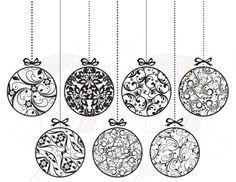 Vintage Christmas Ornaments Decorations Xmas Vintage Baubles Christmas Baubles Decor Digital Clipart Clip Art Graphics Circle Black 10397. $5.50, via Etsy.