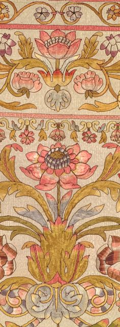 pink and gold floral textile (yorkeantiquetextiles - happybuddhabreathing) Motifs Textiles, Vintage Textiles, Textile Patterns, Vintage Prints, Textile Art, Print Patterns, Textile Museum, Indian Patterns, Pattern Art