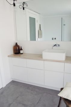 white cabinets, wooden countertop, matte grey floortiles | MR & MRS WHITE