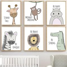 zebra Hippo Giraffe Lion Crocodile Nursery Wall Art Canvas Painting Nordic Posters And Prints Wall Pictures Baby Kids Room Decor Canvas Poster, Canvas Wall Art, Canvas Canvas, Cotton Canvas, Painting Canvas, Diy Painting, Quote Canvas, Poster Prints, Acrylic Paintings