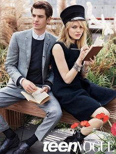 Emma Stone and Andrew Garfield... idk what that hat is?