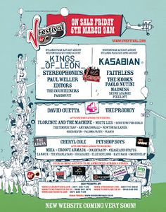 Every V Festival poster and line-up since 1996 - Estrellas Del Mundo V Fest, Ocean Colour Scene, Noah And The Whale, Scouting For Girls, Dizzee Rascal, Weston Park, Grime Artists, Steve Angello, The Chemical Brothers