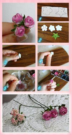 Aprenda a fazer você mesmo estas delicadas rosinhas com papel. Confira o passo a passo. Rabisque em um papel não muito grosso as pétalas das rosinhas e as folhas Recorte ...Read more
