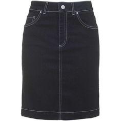 Debbie Denim Pencil Skirt by Topshop Archive ($70) ❤ liked on Polyvore featuring skirts, bottoms, denim skirt, indigo denim, topshop skirts, high waisted denim skirt, knee length denim skirt y pocket skirt