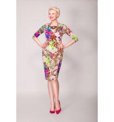Jersey dress with vibrant floral print - Arzu Kara