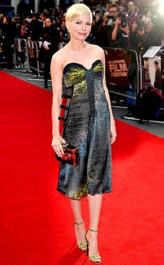 Michelle Williams in a strapless Louis Vuitton dress