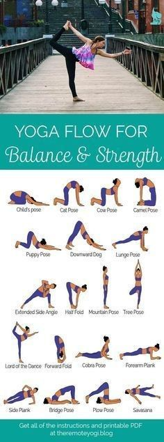 Easy Yoga Workout - Yoga for Balance Strength - Free PDF Download this sequence designed to increase muscle strength and increase balance. This is a great way to keep the abs toned! Get your sexiest body ever without,crunches,cardio,or ever setting foot in a gym