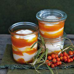 Joghurt-Mousse mit Sanddorn