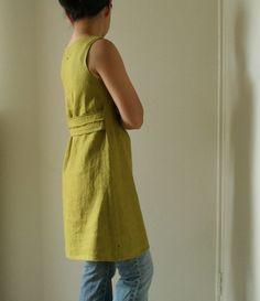 linen dress with centre pleat detail. women's clothing. linen tunic. maternity. spring. summer. handmade by pamelatang
