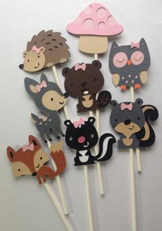 12 Girly Woodland Animal Cupcake Toppers, Fawn, Beaver, Skunk, hedgehog, Owl, Fox, Mushroom, squirrel.  Forest Animals by MiaSophias, $11.99