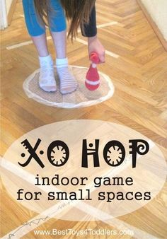 XO Hop - indoor game for small spaces - combination of jumping school and tic-tac-toe game #grossmotor #energyburners #indoorgame #jumpinggame Gym Games For Kids, Pe Games, Indoor Activities For Kids, Exercise For Kids, Summer Activities, Preschool Activities, Outdoor Activities, Group Games, Gross Motor Activities