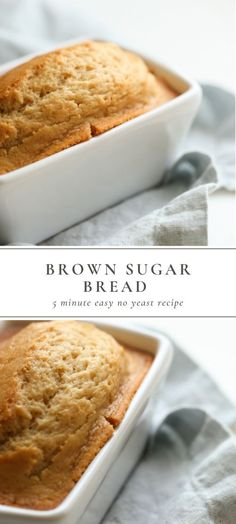 This brown sugar bread recipe is full of flavor and incredibly easy to make A no yeast bread made with staple ingredients and just 5 minutes hands-on time bread sweetbread noyeastbread brunch breakfast recipe No Yeast Bread, Sugar Bread, Yeast Bread Recipes, Bread Baking, Keto Bread, Cornbread Recipes, Jiffy Cornbread, Bread Food, Bread Machine Recipe Without Yeast