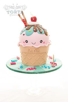 A Kawaii inspired ice cream cone made for a girl turning one! Very much inspired by the cake by A Pocket Full of Sweetness.