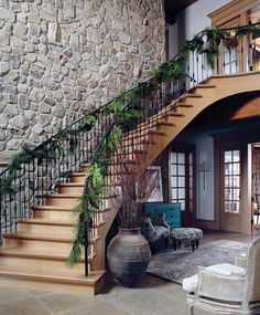 Romantic Holiday Farmhouse Staircase