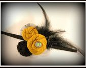 Yellow and black feather headband