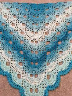Virus Shawl, hand crocheted from Acrylic yarn Blue Baby Blanket, Baby Blanket Crochet, Crochet Baby, Free Crochet, Shawl Crochet, Crochet Stitches, Crochet Patterns, Prayer Shawl, Crochet Clothes