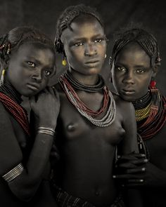 Bodita, Arboshash & Nirjuda, Dassanech Tribe, Omorate Village, Southern Omo Valley, Ethiopia, 2011
