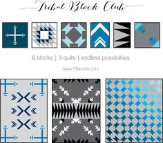Check out this new pattern club beginning in 2016: three quilts and six blocks full of tribal flair! Great for quilters who love BOM (block of the month) clubs.