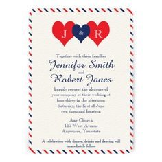 4th of July Wedding Invitation 4th of July Invites Patriotic