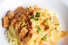 Duivelse pasta met tempeh · EVA  http://www.evavzw.be/recept/duivelse-pasta-met-tempeh