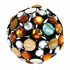 Create a stylish centerpiece atop your coffee table or dining ensemble with this lovely metal ball decor, showcasing jewel accents in orange, silver, and blu...