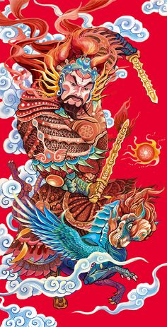 Very ornate and detailed. Japanese Illustration, Illustration Art, Japanese Artwork, China Art, Wow Art, Mural Painting, Japan Art, Chinese Painting, Illustrations And Posters