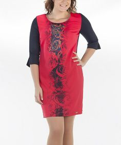 Another great find on #zulily! Black & Red Floral Embellished Shift Dress - Women & Plus #zulilyfinds