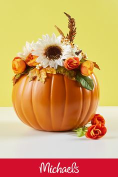 Make this Fall floral pumpkin vase to celebrate the Fall season.